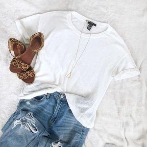 F21 White Knit T-shirt